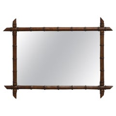 Vintage French Faux Bamboo Wall Mirror