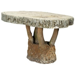 Vintage French Faux Bois Garden Table