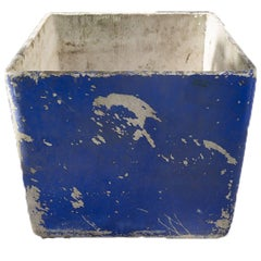 Vintage French Fiber Cement Square with Worn Blue Paint, circa 1950