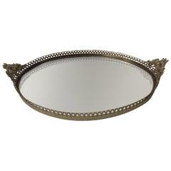 Vintage French Filigree Medium Oval Vanity Tray with Mirror
