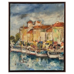 Vintage French Fishing Village Painting