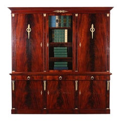 Vintage French Flame Mahogany Empire Bookcase