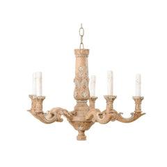 Vintage French Floral Carved Wooden Five-Light Chandelier