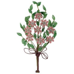 Vintage French Floral Immortelles Wreath, 20th Century