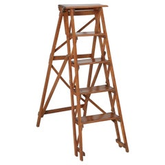 Vintage French Folding Wood Ladder in the Original Finish