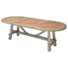 Vintage French Garden or Picnic Table in the Faux Bois Style