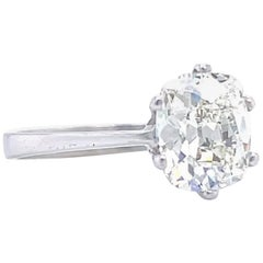 Vintage French GIA 1.51 Carat Antique Cushion Cut Diamond Engagement Ring