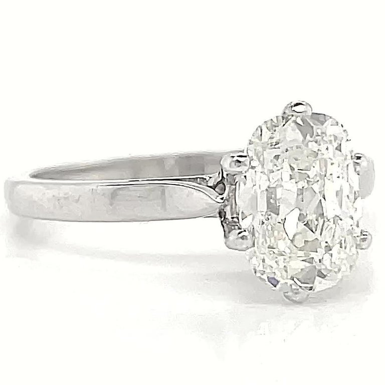 Vintage French GIA 1.54 Carat Antique Cushion Cut Diamond Gold Engagement Ring In Excellent Condition For Sale In Beverly Hills, CA