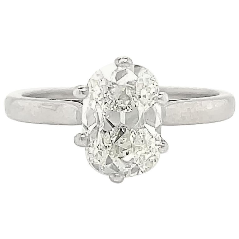 Vintage French GIA 1.54 Carat Antique Cushion Cut Diamond Gold Engagement Ring For Sale
