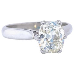 Vintage French GIA 1.57 Carat Antique Cushion Diamond Platinum Engagement Ring
