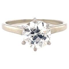 Vintage French GIA 1.83 Old European Diamond Platinum Solitaire Engagement Ring