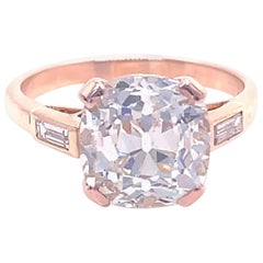 Vintage French GIA 4.00 Carat Old Mine Cut Diamond 18 Karat Gold Engagement Ring