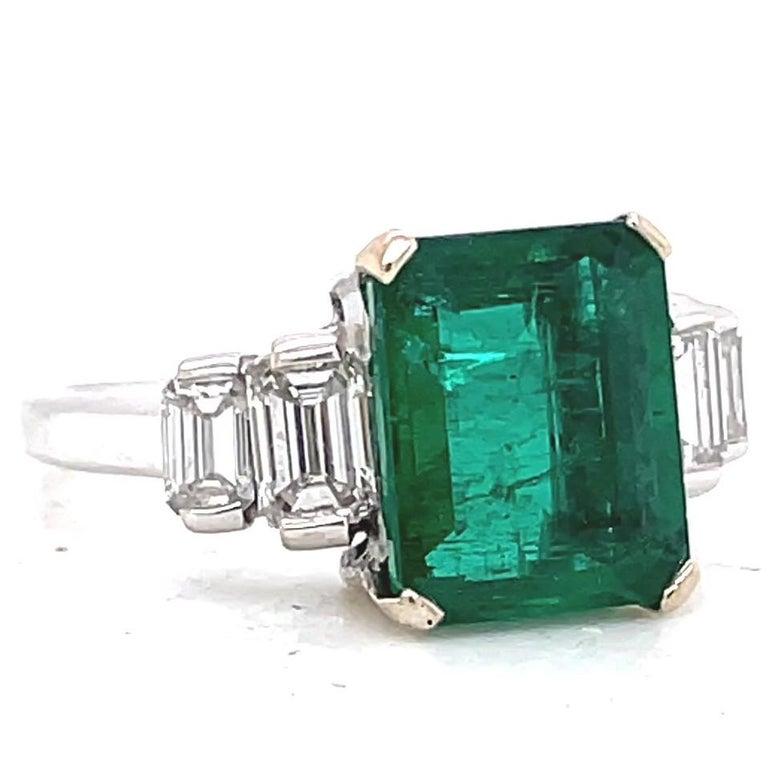 Emerald Cut Vintage French GIA Zambian Emerald Diamond 18 Karat White Gold Ring For Sale