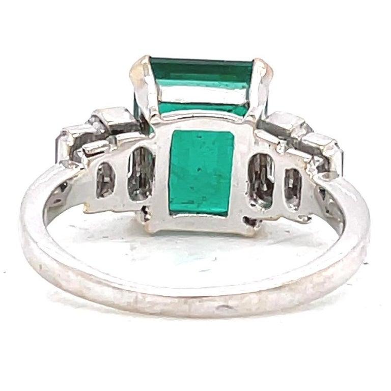 Women's Vintage French GIA Zambian Emerald Diamond 18 Karat White Gold Ring For Sale