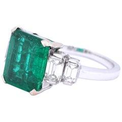 Vintage French GIA Zambian Emerald Diamond 18 Karat White Gold Ring