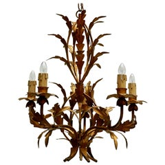 Vintage French Gilded Iron Tôle Flower Chandelier, circa 1940