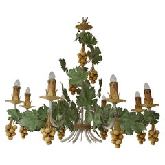 Vintage French Gilt Grape Tole Chandelier