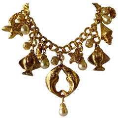 Vintage French Gilt Nautical Fish Pearl Statement Necklace