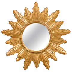 Vintage French Gilt Sunburst with Convex Mirror and Twisted Motifs, circa 1960