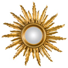Vintage French Giltwood Midcentury Convex Sunburst Mirror with Wavy Rays