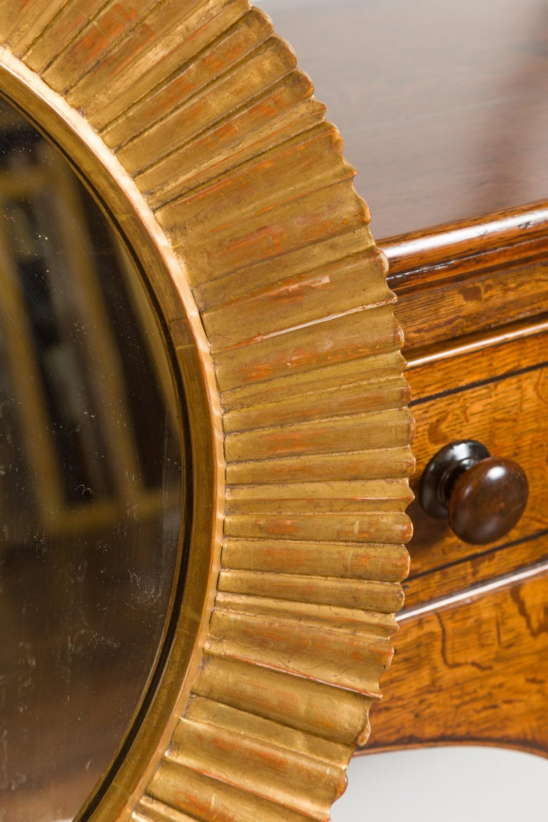 Vintage French Giltwood Midcentury Sunburst Mirror with Radiating Motifs For Sale 4