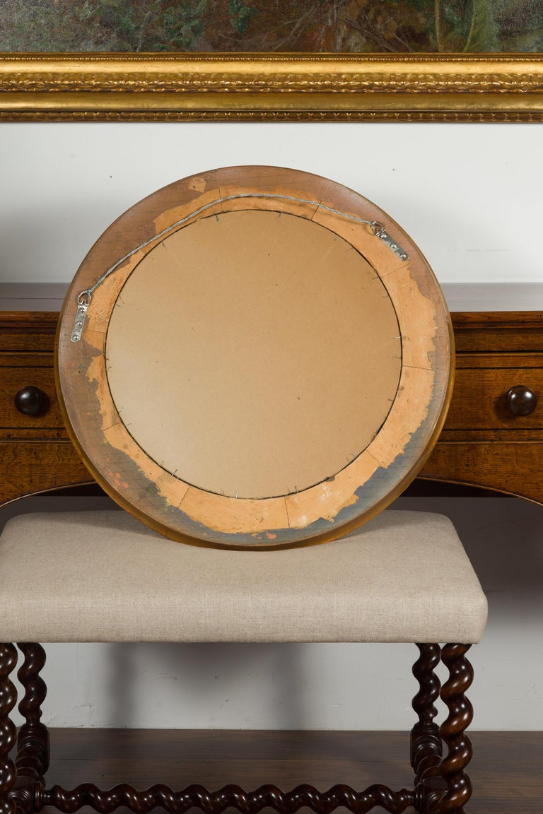 Vintage French Giltwood Midcentury Sunburst Mirror with Radiating Motifs For Sale 5