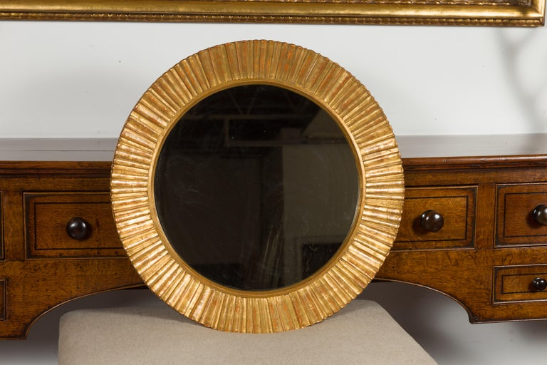 Mid-Century Modern Vintage French Giltwood Midcentury Sunburst Mirror with Radiating Motifs For Sale
