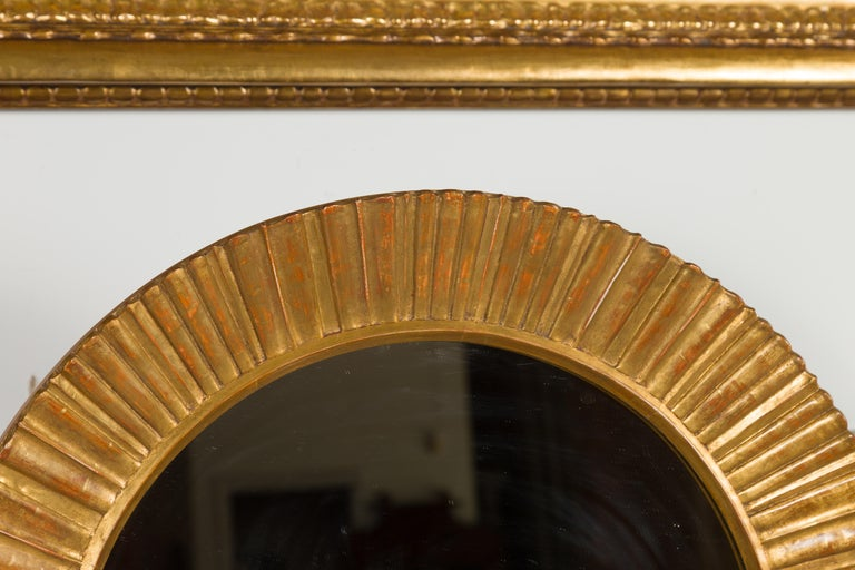 Carved Vintage French Giltwood Midcentury Sunburst Mirror with Radiating Motifs For Sale
