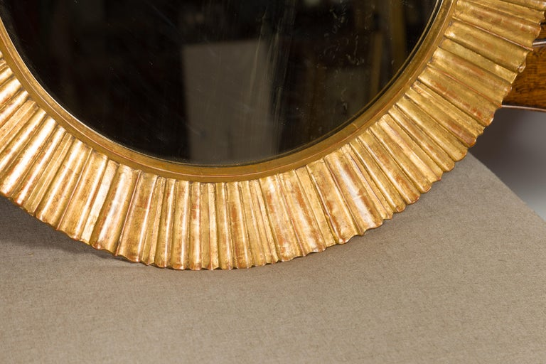 Vintage French Giltwood Midcentury Sunburst Mirror with Radiating Motifs In Good Condition For Sale In Atlanta, GA
