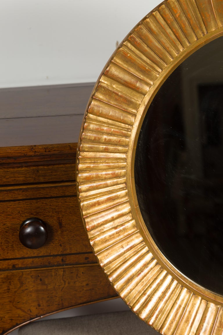 20th Century Vintage French Giltwood Midcentury Sunburst Mirror with Radiating Motifs For Sale