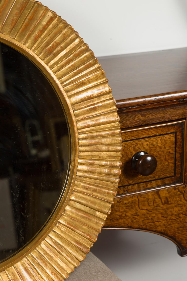 Vintage French Giltwood Midcentury Sunburst Mirror with Radiating Motifs For Sale 1