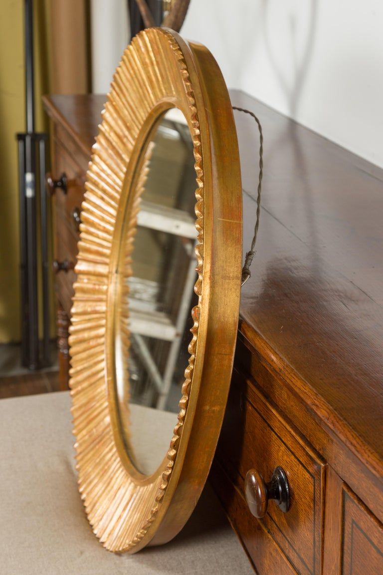 Vintage French Giltwood Midcentury Sunburst Mirror with Radiating Motifs For Sale 2