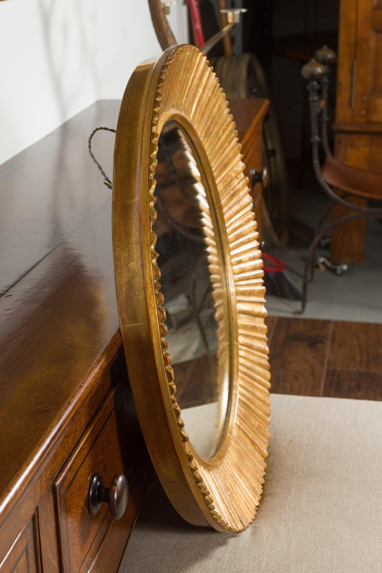 Vintage French Giltwood Midcentury Sunburst Mirror with Radiating Motifs For Sale 3