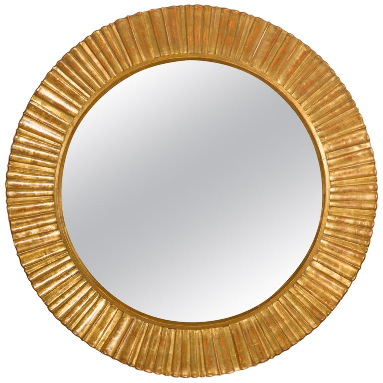 Vintage French Giltwood Midcentury Sunburst Mirror with Radiating Motifs For Sale