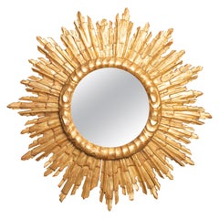Vintage French Giltwood Sunburst Mirror with Cloudy Frame, circa 1950