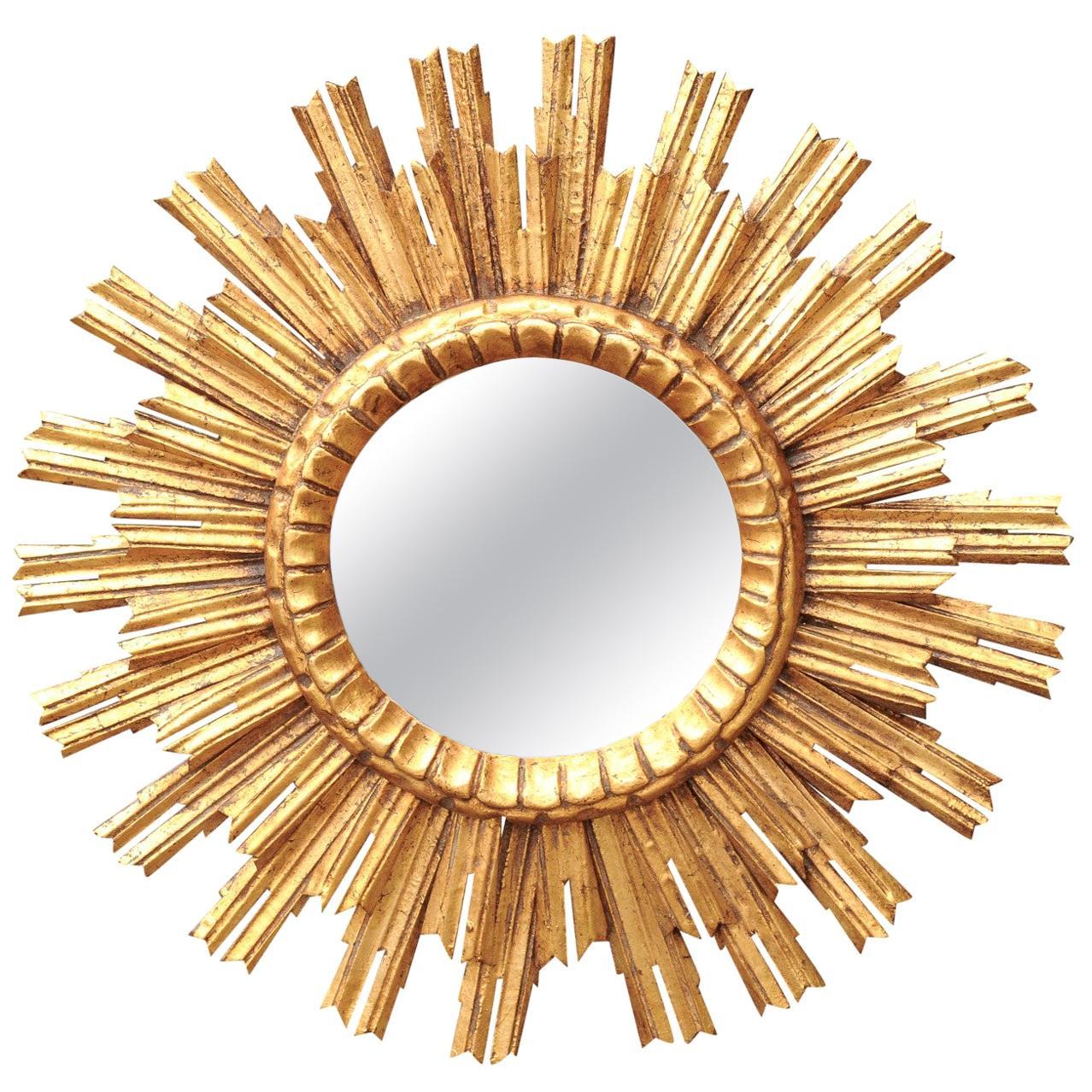 Vintage French Giltwood Sunburst Mirror with Layered Sunrays, circa 1960