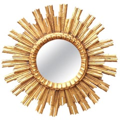 Vintage French Giltwood Sunburst Mirror with Layered Sunrays, circa 1960