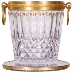 Vintage French Glass and Brass Champagne Bucket with Tray