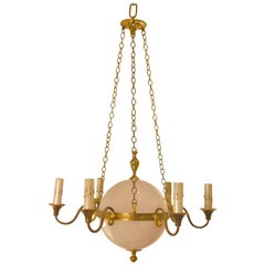 Vintage French Globe and Brass Chandelier