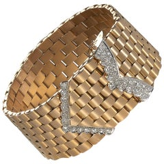 Vintage French Gold and Diamond Bracelet, Circa 1950