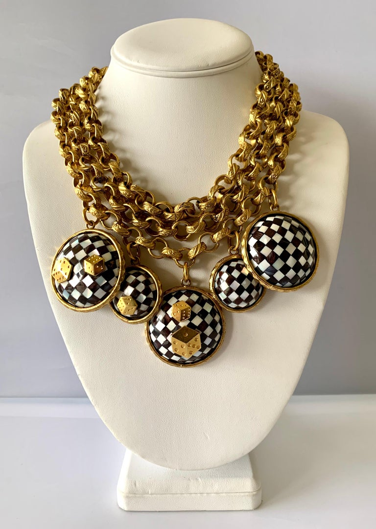 Artisan Vintage French Gold  Checkered Game Charm Necklace  For Sale