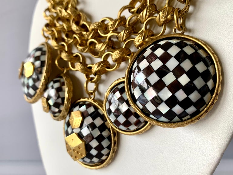 Women's Vintage French Gold  Checkered Game Charm Necklace  For Sale