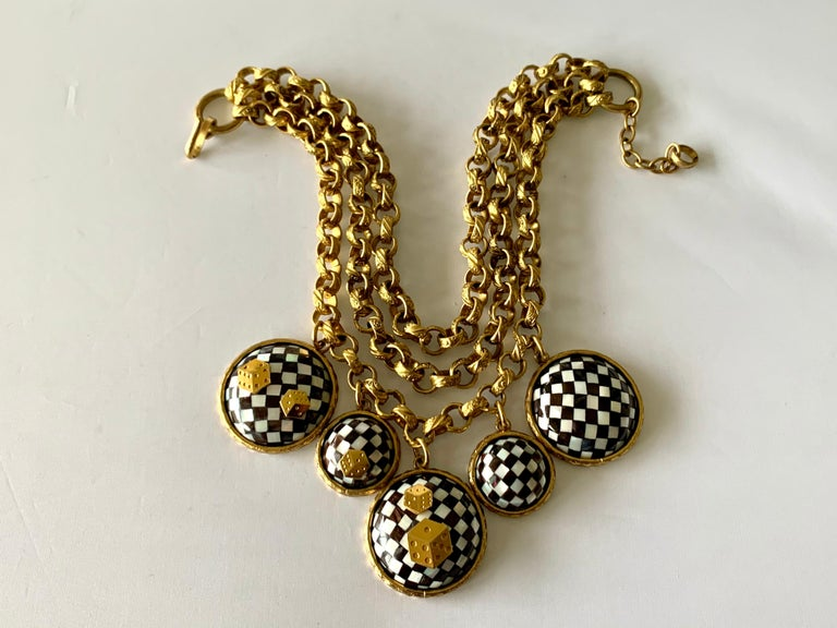 Vintage French Gold  Checkered Game Charm Necklace  For Sale 1