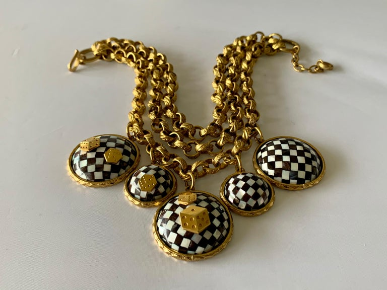 Vintage French Gold  Checkered Game Charm Necklace  For Sale 2