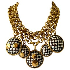 Vintage French Gold  Checkered Game Charm Necklace