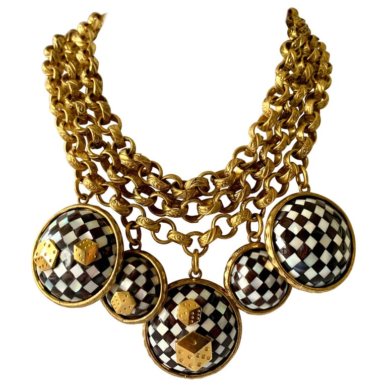 Vintage French Gold  Checkered Game Charm Necklace  For Sale