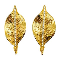 Vintage French Gold Leaf Crystal Earrings 1970s
