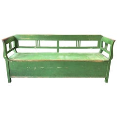 Vintage French Green Bench with Storage
