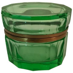 Vintage French Green Crystal Oval Box