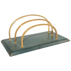 Vintage French Green Leather and Brass Letter Rack